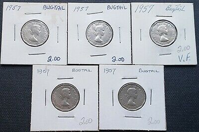 Lot of 5x 1957 Canada 5 Cent Nickels - Bug-tail Variety