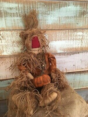 Primitive Grungy Scarecrow with his pumpkin Doll Halloween Fall 26""