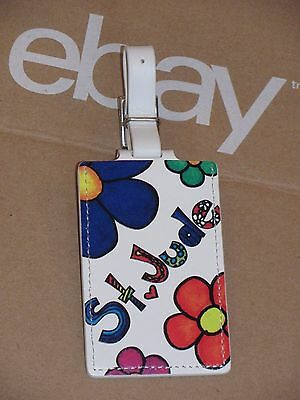 TUMI St Jude Children's Research Hospital White Floral Leather Luggage Tag NWT