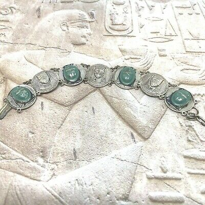 Vintage Egyptian Revival Bracelet Link Sphinx and Faux Turquoise Beetle Scarab