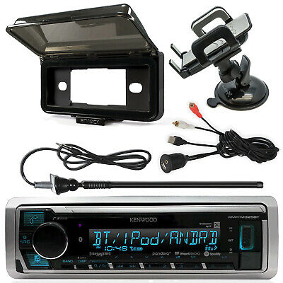 Kenwood KMRM325BT Receiver, Radio Cover, AUX Interface, Antenna, Phone Mount
