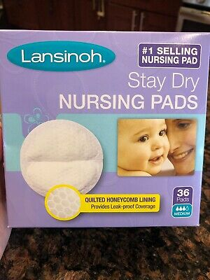 Lot of Lansinoh Stay Dry Disposable Quilted Contoured Breast Nursing Pads, 36 Ct