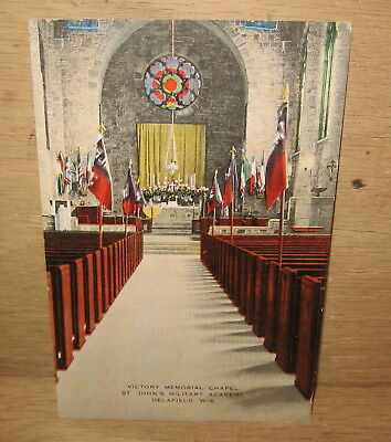 Vintage Victory Memorial Chapel St John's Military Academy Post Card