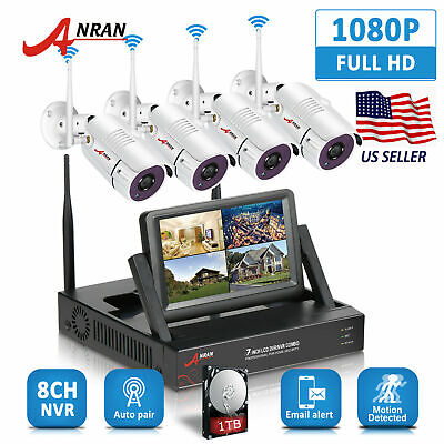 "1080P Wireless Security System 4CH 7""Monitor NVR WiFi 2.0MP CCTV Camera IR"