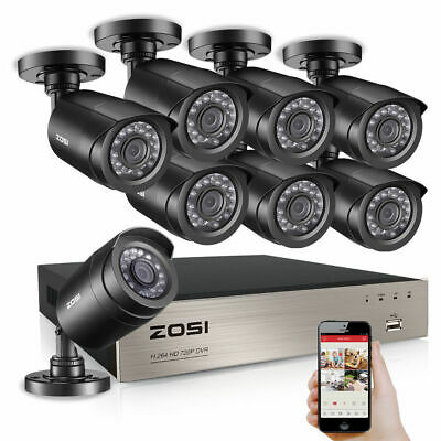 HD 8CH 1080P DVR 720P Outdoor Home Surveillance Security Camera System 8 CH