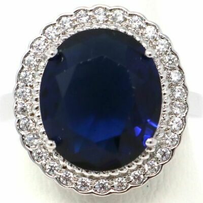 Vintage Antique Blue Sapphire Cocktail Ring Women Jewelry 14K White Gold Plated