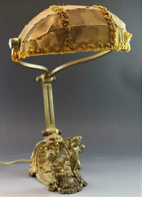Antique French Gilt Bronze Desk Table Lamp w/ Cherub Figures & Silk Shade