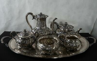 International silver, sterling repousse tea set, 5pc with tray. c. 1880