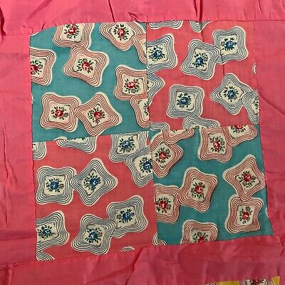 Vtg 1930s 1940s Pink Quilt Top Feedsack Fabric Patchwork Machine Stitched