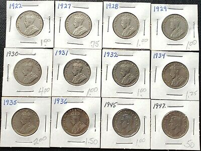 Lot of 12x Canada 5 Cent Nickels - Dates: 1922 to 1947 - Great Condition Coins