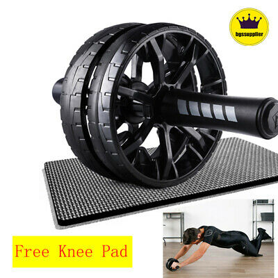 Ab Double Roller Wheel Machine Abdominal Home Exercise Workout Fitness Equipment