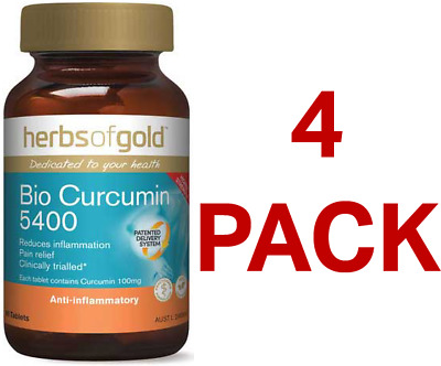 Herbs of Gold Bio Curcumin 5400 60 Tablets - 4 Pack