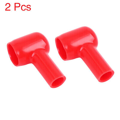 2pcs 25mm Width Red Soft PVC Battery Terminal Cover Insulation Cap Sleeve Boot