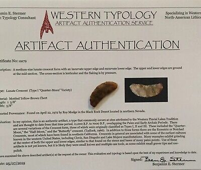 Authentic Lunate Crescent Type 1 . Western Typology Coa. Northern Nevada.
