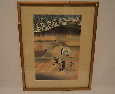 Bakufu Ohno 1950 Signed Woodblock Print RICE REAPING Framed Art Signed