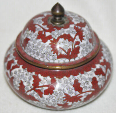Chinese 1910-1920 Cloisonné White Ground Red Flower Design Lidded Urn