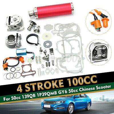 100cc Big Bore Set Power Pack Exhaust For Gy6 50cc QMB139 Chinese Scooter