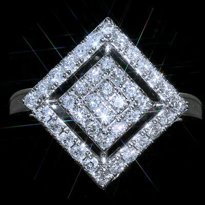 2Ct 100%Natural Diamond 14K White Gold Cluster Rhombus Ring EFFECT 4Ct  RWG112-7