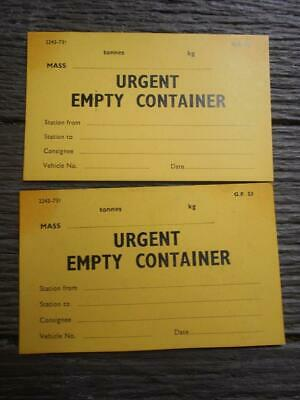 1970 1973 Victorian Railways Urgent Empty Container cards station to station