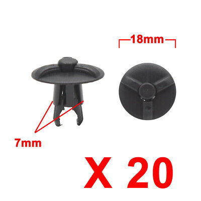 20Pcs Black Plastic Rivets Trunk Push Type Fasteners Retainer Clip 7mm for Car