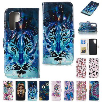 Luxury Relief Pattern Leather Wallet Stand Case Cover For Huawei P30 P10 P8 Lite