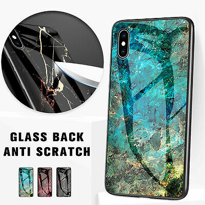 For Apple iPhone XS Max XR 8 7 Plus Case Shockproof Tough Glass Marble Cover