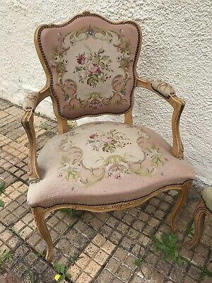 Pretty Pink French Style Tapestry Upholstered Wooden Chair Vintage or Antique?