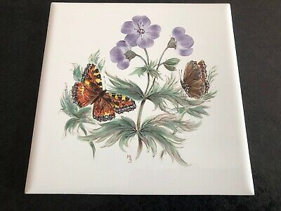 vintage quality hand painted large tile - two butterflies with purple flowers