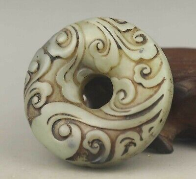Chinese old natural jade hand-carved flower pendant 1.9 inch