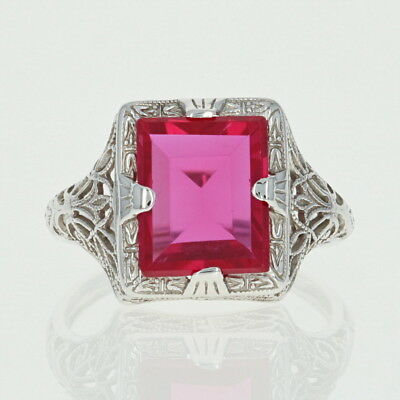 Art Deco Synthetic Ruby Ring - 14k White Gold Vintage Filigree Size 6 1/2