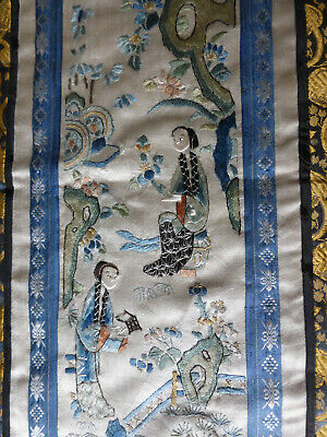 antique Chinese embroidered silk panel, forbidden stitch, scholar scenes