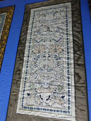 antique Chinese embroidered silk panelS, SLEEVE PANELS