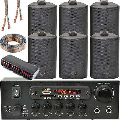 Bluetooth Wall Speaker Kit – 3 Zone Stereo Amp & 6x Black Wall Background Music