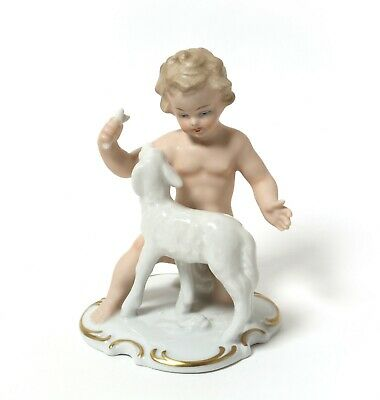 Porcelain figurine * Nude boy with lamb *. Germany, Wallendorf.