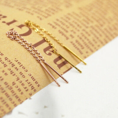 Delicate Women Simple Bar Pull Through Thread Long Chain Earrings Jewelry FG
