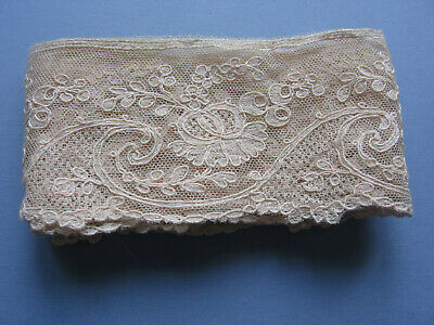 "ANTIQUE LENGTH  EMBROIDEREDTAMBOUR BORDER  LACE  36"" x 2.1/2"""