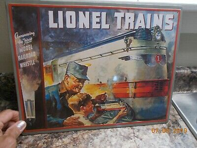 Hallmark 1999 Tin Sign Lionel Trains Announcing The First Model Railroad Whistle