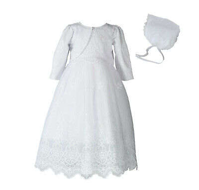Baby Girls White Lace Christening Gown Bolero and Bonnet 0 3 6 9 12 18 Months