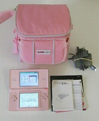 Nintendo Ds Lite Coral Pink Console With Pink Carry Case