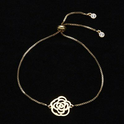 Fashion Womens Jewelry Stainless Steel Hollow Rose Charm Bracelet Mother's Day