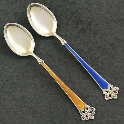 Magnus Aase ANITRA Guilloche Enamel Gilt Norwegian Sterling Silver NORWAY Spoons