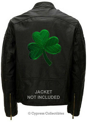 LARGE IRISH BIKER PATCH SHAMROCK LUCKY CLOVER MOTORCYCLE embroidered IRON-ON BIG