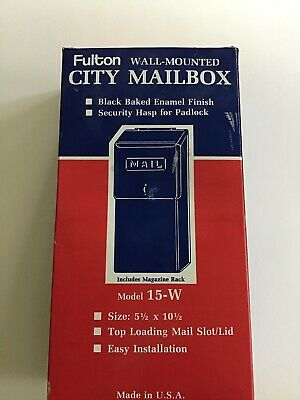 Fulton 15-LW Black Steel Vertical Wall Mount Top Slot City Mailbox New KEY LOCK Home, Furniture & DIY Letterboxes