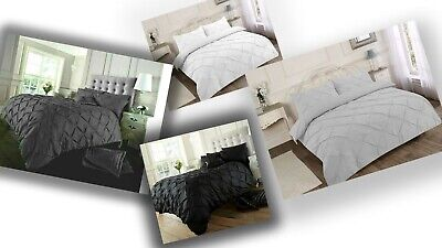 PINTUCK PLEATED DUVET COVER BED SET n PILLOWCASES SINGLE DOUBLE KING SUPER KING