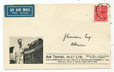 Cpa Pk Ak Timbre Stamp Aviation First Unsubsidised Air Travel Nouvelle Zelande