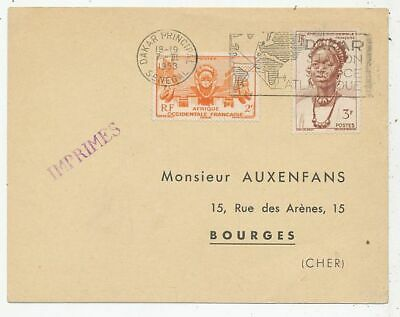 Cpa Pk Ak Timbre Stamp Avion Aviation Air France Dakar-Bourges 1953