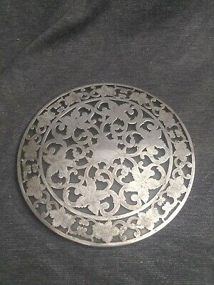 "Antique Webster 6"" Sterling Silver Overlay Glass Trivet"