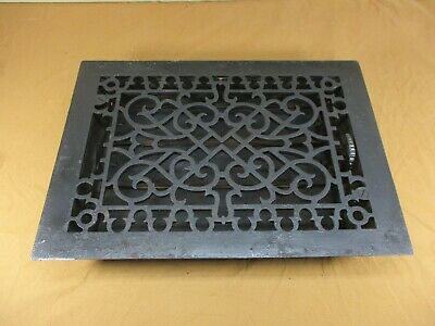 "Antique Cast Iron FLOOR Register Heat Vent Grate 13 3/4"" x 9 3/4""  with LOUVER"