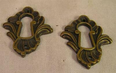 5 French Cast  Brass Escutcheons Key Hole Covers Cabinet Furniture Hardware