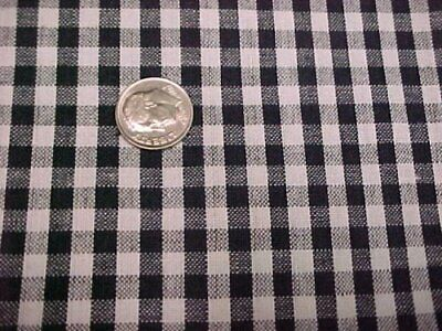 Cotton Fabric Quilt Sew Craft Black White Checks Woven Estate Find Material
